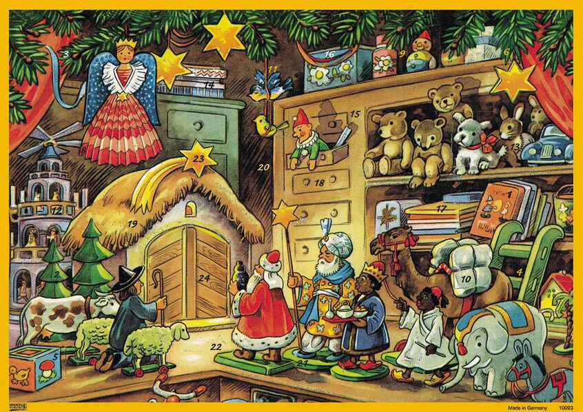 "Nostalgische Adventskalender Karte /""Himmelswerkstatt/"" Umschlag Glimmer Engel"