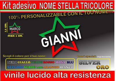 kit 1 adesivo NOME TRICOLORE STELLA, mtb, bici, corsa, casco moto, auto,...