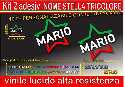 kit 2 adesivi NOME TRICOLORE STELLA, mtb, bici, corsa, casco moto, auto,...