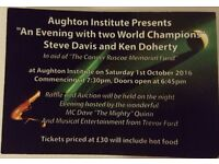 STEVE DAVIS & KEN DOHERTY charity snooker night Aughton Institute Sat 1st October