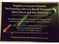STEVE DAVIS and KEN DOHERTY charity snooker night Aughton Institute 1st Oct 2016