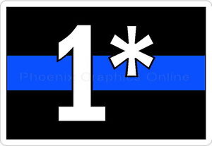 Thin blue line 1 white text reflective decal sticker police sheriff
