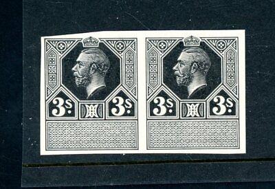 King George V 3s Black Imperforate Plate Proof Horizontal Pair umm    (Jy811)
