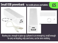 Portable small USB 'power bank' mobile charger ideal for travel and phone power restoring.