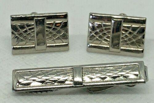 Estate Fing Vintage Cufflinks And Tie Bar Set Silver Tone