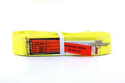 Ee2-902 X8ft Nylon Lifting Sling Strap 2 Inch 2 Ply 8 Foot Usa Made Package Of 4