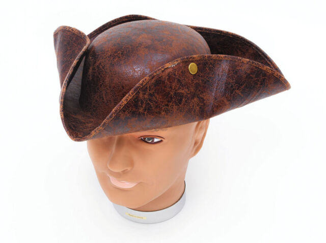 Adult Mens Deluxe Ancient Look Brown Stud Tricorn Pirate Fancy Dress Costume Hat