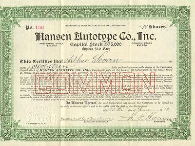 Hansen Autotype > 1919 New York old stock certificate share