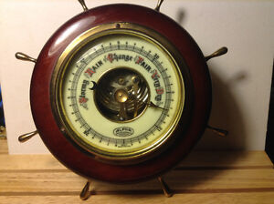 VTG ALPHA PRECISION Wood & Brass Ships Wheel Barometer Weather S