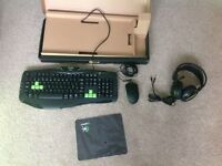 Mouse, keyboard, headset and mouse mat