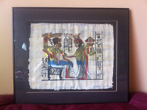 2 Ancient Egyptian Papyrus Framed Pictures $30 For Both...