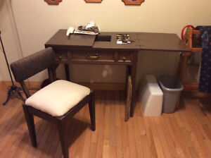 Sewing machine table and chair