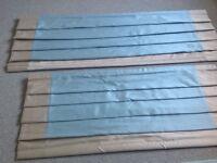 ROMAN BLIND, FAUX SILK, DUCK EGG BLUE WITH BEIGE TRIM 160cm wide 263cm long