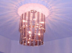 Large Vintage Modern Mirrored Glass Chandelier