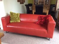 STUNNING RED 2 X 2 LEATHER SOFAS AS NEW CAN DELIVER FREE