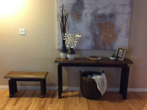 Custom Birch console table with matching bench