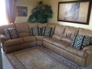 LEATHER SECTIONAL/ plus  Queen bed, 2 recliner seats