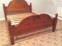Antique pine king size bed frame with slatted base