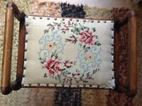 Vintage piano stool with cross stitch top