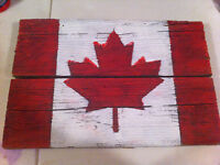 Wooden Canadian Flag (hand painted)