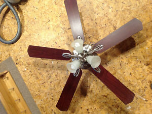"""Nickel and Cherry finish 48"""" Ceiling Fan"""