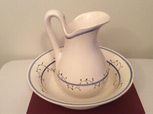 Large water pitcher with matching bowl