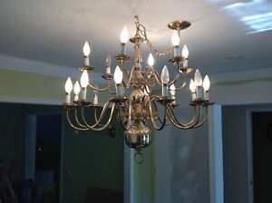 TWO CHANDELIERS WITH MATCHING SINGLE AND DOUBLE WALL LIGHTS