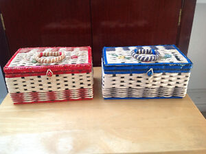 2 VINTAGE WICKER WOVEN SEWING BASKETS with satin lining