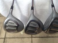 GOLF CLUBS SET TITLEIST DTR WOODS. NUMBERS 1-3-5 WITH STEEL REGULAR SHAFTS.