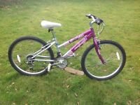 """Girls Purple Raleigh Mountain Bike to suite ages 5-12, 24"""" Wheels"""