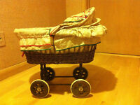 antique hand-made wicker crib moses basket