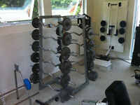 Pyramid Barbell Rack with  set of 5 bars