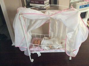 Doll crib with baby doll Kitchener / Waterloo Kitchener Area image 2