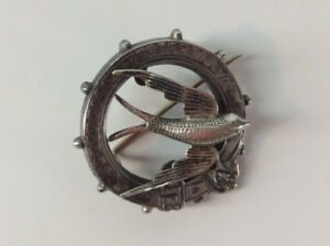 Victorian Sterling Silver Swallow in Flight Circle Brooch