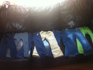 Seven pairs of girl's pants