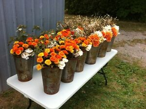 Fall Wedding Flowers in rustic sap buckets