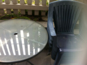 Patio Glass Table with set of 4 chairs