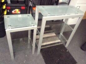2 glass shelf units