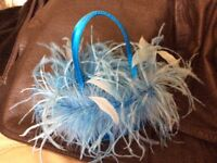 Beautiful blue feather evening/prom bag