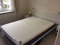 King size white metal bed frame