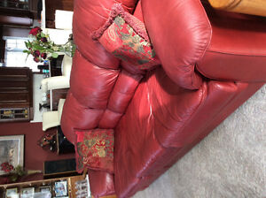 Burgundy leather couches 2