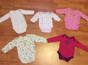 5 baby girl long sleeve diaper shirts, size 3-6 months