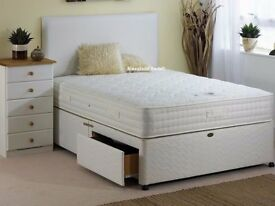 double king divan bed + plain headboard 2 storage drawers and white orthopedic mattress