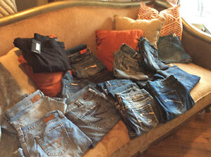 Assorted ladies silver jeans and others
