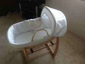 Beech rocking cradle and moses basket Excellent Condition - hardly used!