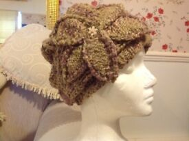 Original one only! Heather tones hand knitted slouch beanie hat & ear warmer, unique!