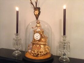 Pair antique vintage retro glass sparkling candle sticks