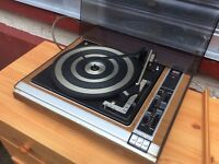 Vintage record player and Sony Speakers