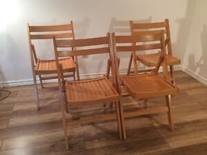 4 x Chaises en Bois Retro - 4 Vintage Wood Folding Chairs