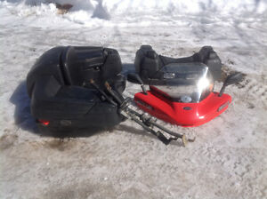 ATV back seat, pegs, front box and windshield